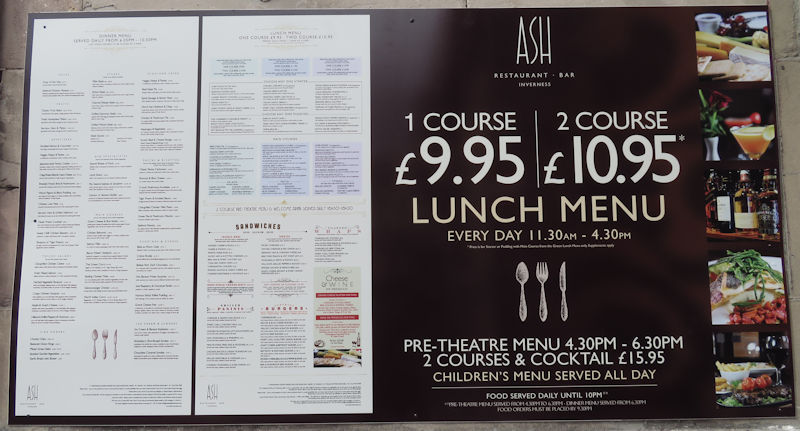 Menu at Ash restaurant Inverness