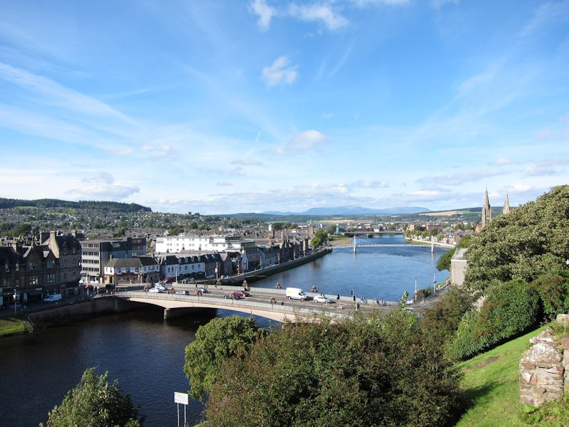 View of Ben Wyvis and Inverness seen from the castle